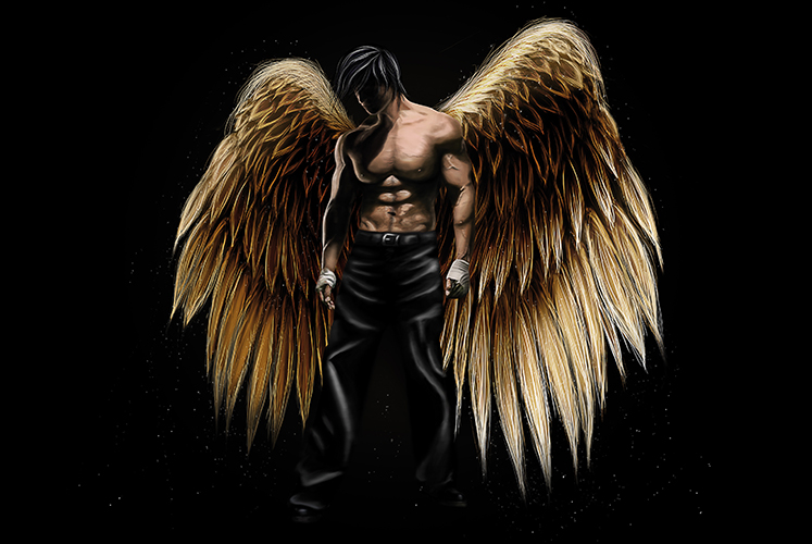 Archangel Angel wings heaven hell illustration digital painting