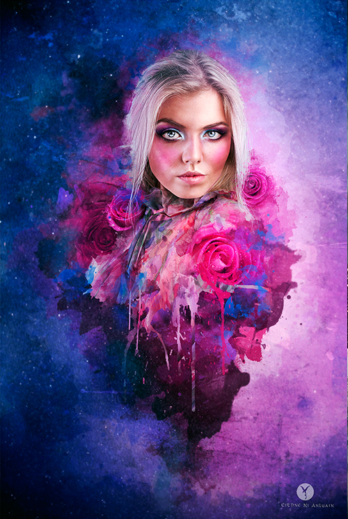 Dathannach, illustration, artwork, color, portrait, blonde, rose, surreal