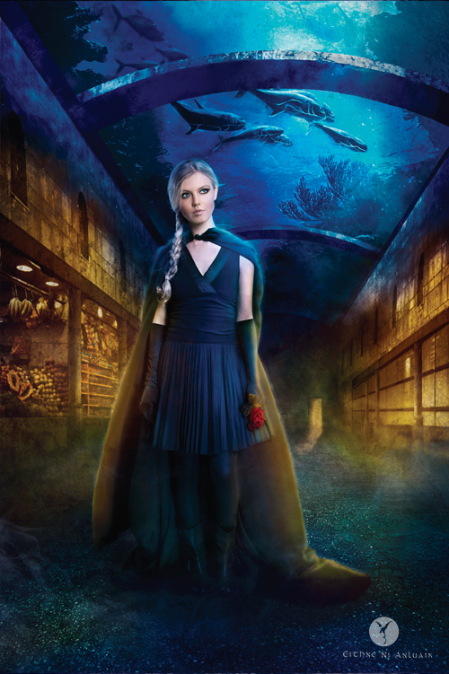 Rebellion publishing book cover illustration underwater apolyptic rose cloak warrior